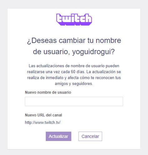 cambiar tu nombre de tu cuenta de twitch