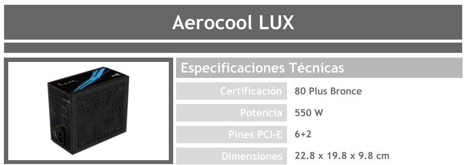 fuente para pc gamer barato aerocool lux