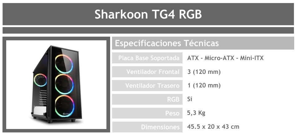 gabinete para pc gamer barato sharkoon tg4 rgb