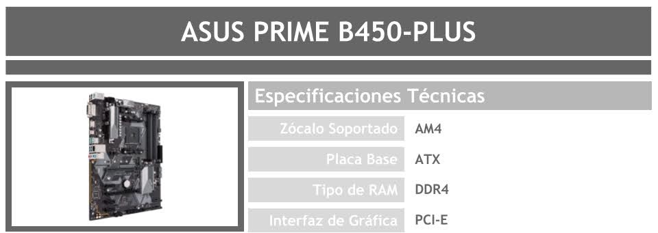 placa madre para pc gamer barato asus prime b450 plus