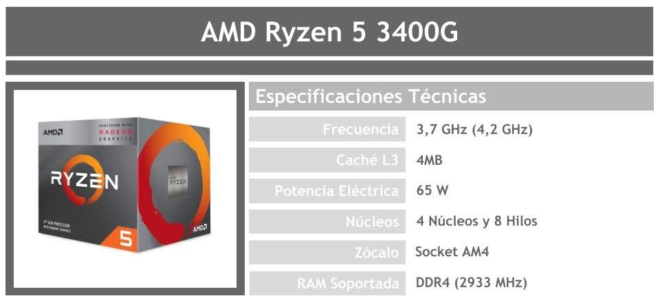 procesador para pc gamer barato amd ryzen 5 3400g