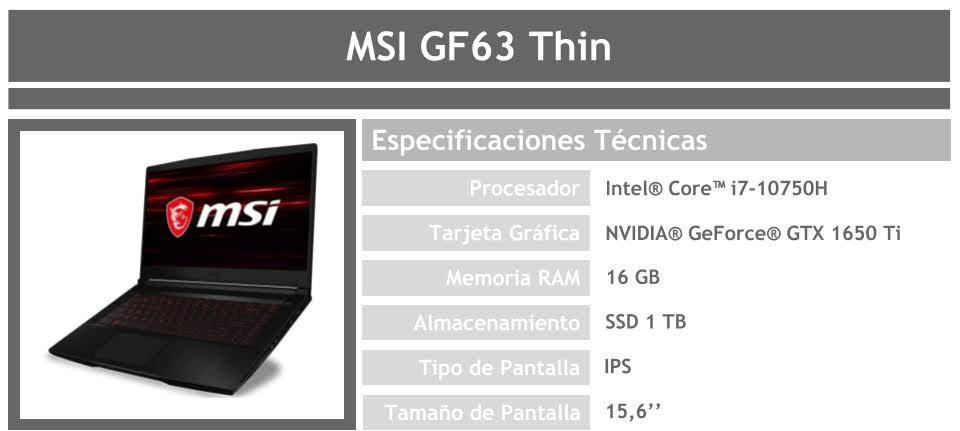Portátil MSI GF63 Thin