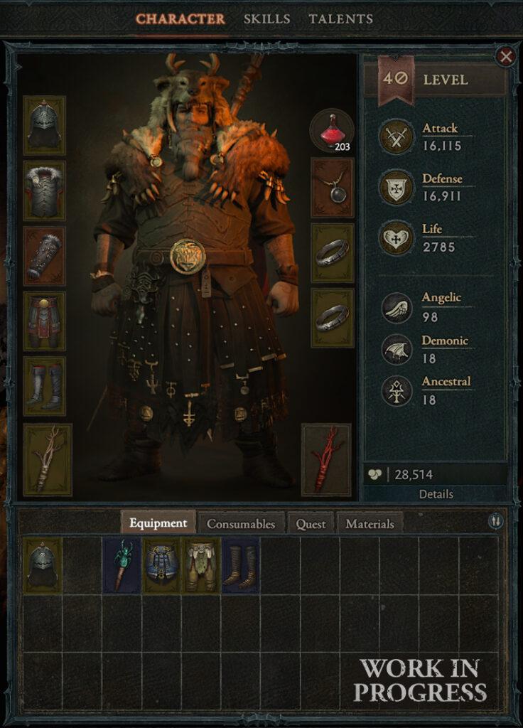 equipamiento Diablo