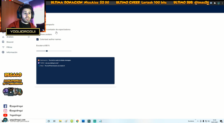configuracion del chat Restream