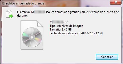 solución al mensaje de error el archivo es demasiado grande para el sistema de archivos de destino