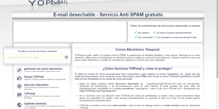 como crear una cuenta nueva de correo temporal de yopmail