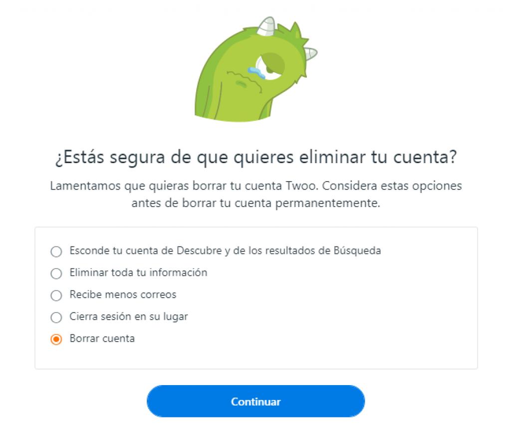 como eliminar una cuenta de twoo en español