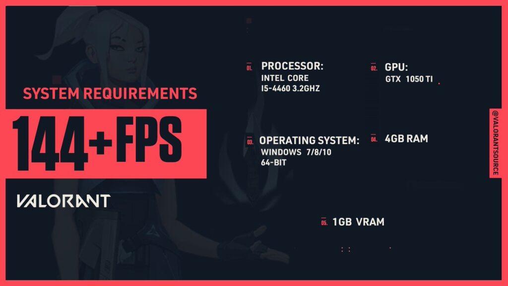 requisitos para jugar valorant a 144 fps